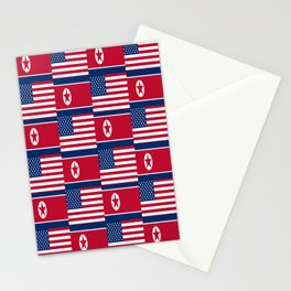 Mix of flag: USA and North Korea Stationery Cards