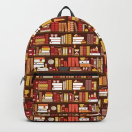 Book Case Pattern - Red and Gold Backpack