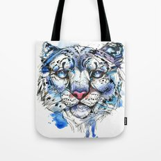 Icy Snow Leopard Tote Bag