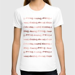 Amour French Love Script Rose Gold Typography Pattern 2 T-shirt