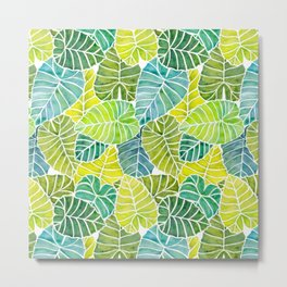 Tropical Leaves Alocasia Elephant Ear Plant Blue Green Metal Print