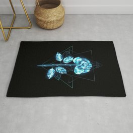 Polygonal Ice Rose Rug