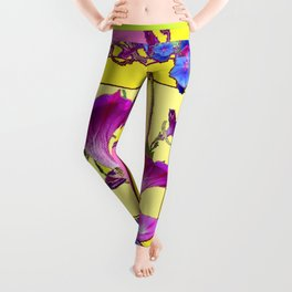 Blue Morning Glories Butterfly Yellow Patterns Pink Art Leggings