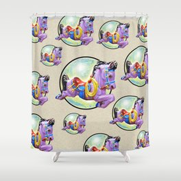 Red Saddle Purple Horse Ride Shower Curtain