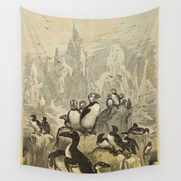 Naturalist Penguin And Puffin Wall Tapestry