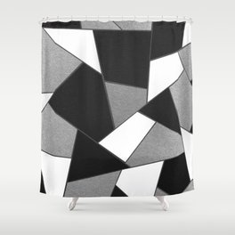 Silver Gray Black White Geometric Glam #1 #geo #decor #art #society6 Shower Curtain