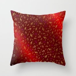 gold and silver, purple music notes in red metal shiny Throw Pillow