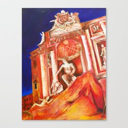 The Trevi Fountain Is On Fire Canvas Print