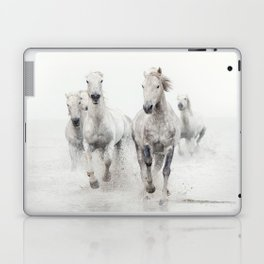 Camargue White Horses Running in Water - Nature Photography Laptop & iPad Skin