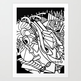 Adult coloring abstract lineart Art Print