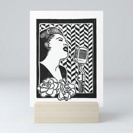 Lady Day (Billie Holiday block print blk) Mini Art Print