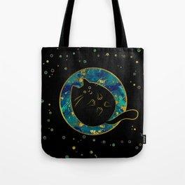 Funny Black Chubby Cat Tote Bag