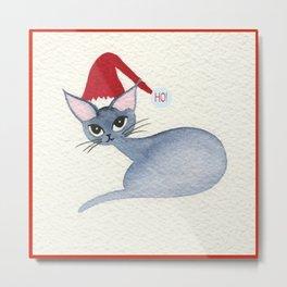 Ho! Whimsical Christmas Cat Metal Print