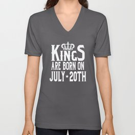Kings Are Born On July 20th Funny Birthday T-Shirt Unisex V-Neck