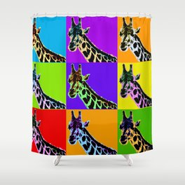 Poster with giraffe in pop art style Shower Curtain