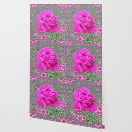 ROMANTIC CERISE PINK ROSE GREY ART RIBBONS Wallpaper