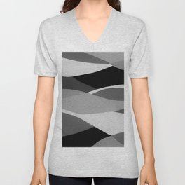 Gray and Pewter Waves Unisex V-Neck