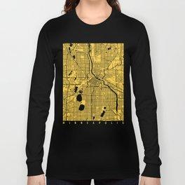 Minneapolis map yellow Long Sleeve T-shirt