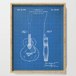 Accoustic Guitar Patent - Classical Guitar Art - Blueprint Serving Tray