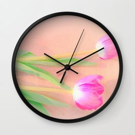 two pink tulips Wall Clock