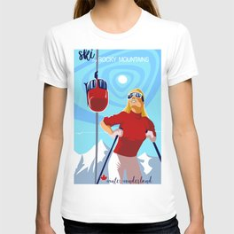 Retro ski Rocky Mountain poster T-shirt