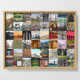 Everything from Dublin - collage of typical images of the city and history Serving Tray