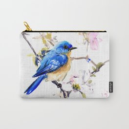 Bluebird and Dogwood, bird and flowers spring colors spring bird songbird design Carry-All Pouch