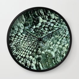 Faux pearly crocodile texture on green marble Wall Clock