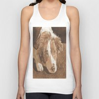 border collie Tank Tops featuring Border Collie Puppy Wren by Yvonne Carter