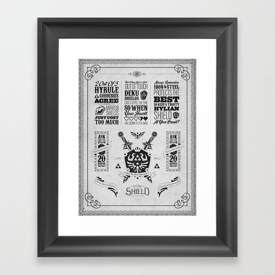 Legend of Zelda - The Hylian Shield Foundry Framed Art Print