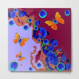 Blue Eyes Gold Butterflies  Lilac & Burgundy Color Metal Print