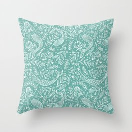 Mermaids and Flowers Throw Pillow