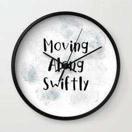 Moving Along Swiftly (black, white, grey) Wall Clock