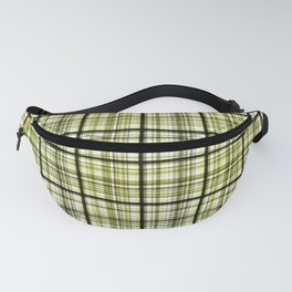 Plaid in olive and black colors. Fanny Pack