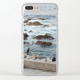 Man Fishing by Car on Korean Rocky Beach Clear iPhone Case