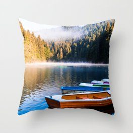 Rowboats, Misty Lake and Forest Throw Pillow