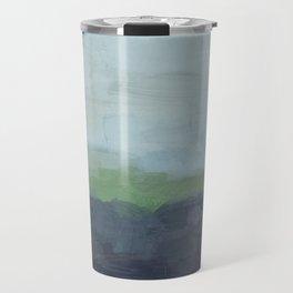 Navy Teal Aqua Sky Blue Green Abstract Wall Art, Painting Art, Nature Horizon, Modern Wall Travel Mug