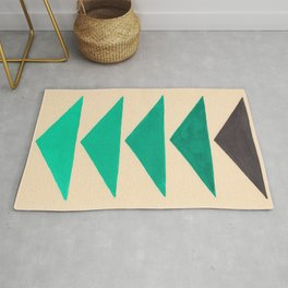 Colorful Turquoise Green Geometric Pattern with Black Accent Rug