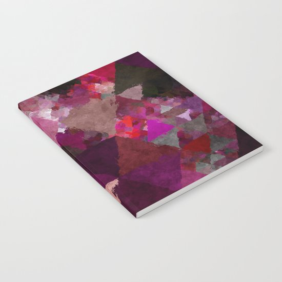 When the night comes- Dark red purple triangle pattern- Watercolor Illustration Notebook