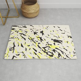 pressed linen with black & yellow /geometric series Rug