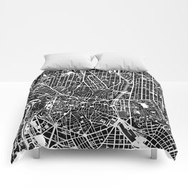 Madrid city map black&white Comforters