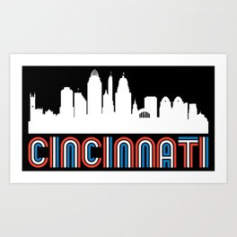 Red White Blue Cincinnati Ohio Skyline Art Print