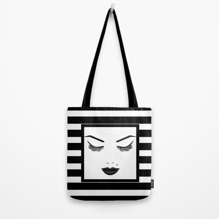 Black Lips Beauty Face Stripes Tote Bag