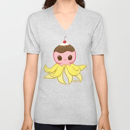 Strawberry Banana Split Octopus Unisex V-Neck