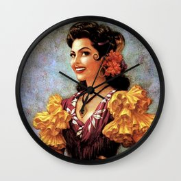 Mexican Golden Flamenco Calendar Girl by Jesus Helguera Wall Clock