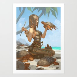 Red Turtle Cay Art Print