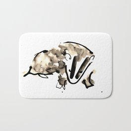 British Badger Ink and Watercolour Illustration Bath Mat