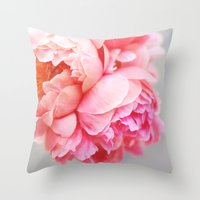 peonies Throw Pillows featuring Peonies Forever by Ez Pudewa