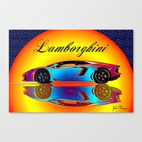 lamborghini Canvas Prints featuring Lamborghini Aventador by JT Digital Art