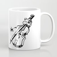 violin Mugs featuring Violin by Azure Cricket